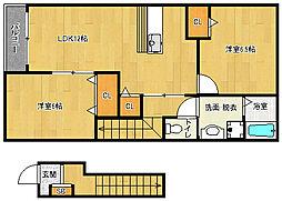 京都府向日市寺戸東野辺の賃貸アパートの間取り