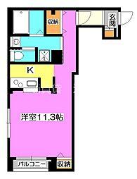 西武国分寺線 東村山駅 徒歩6分の賃貸マンション 2階ワンルームの間取り