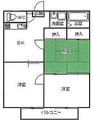 茨城県ひたちなか市大字三反田の賃貸アパートの間取り