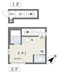 JR総武本線 新小岩駅 徒歩6分の賃貸アパート 2階ワンルームの間取り