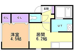 クリオ岡山B 2階1DKの間取り