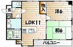 田中第6ハイツ[3階]の間取り