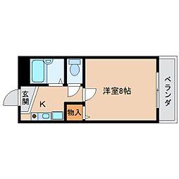 近鉄奈良線 東生駒駅 徒歩12分の賃貸マンション 1階1Kの間取り