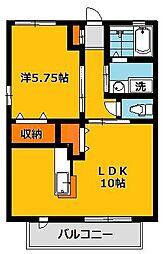 栃木県宇都宮市日の出2丁目の賃貸アパートの間取り
