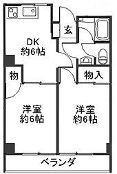 大阪府大阪市阿倍野区昭和町3丁目の賃貸マンションの間取り