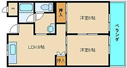 シャンボール東大阪[2階]の間取り