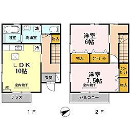 伊予鉄道高浜線 三津駅 徒歩9分の賃貸アパート 1階2LDKの間取り