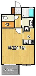 studie KOKURA NORTH 2階1Kの間取り