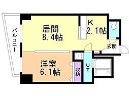ブレッシング札幌中央(ソレアード) 2階1LDKの間取り