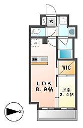 ハーモニーレジデンス名古屋新栄[8階]の間取り