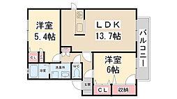 兵庫県川西市東多田2丁目の賃貸アパートの間取り
