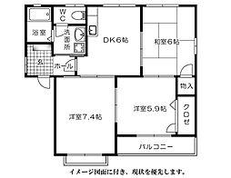 グリーンハウス高須台--[201号室]の間取り