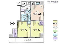 2DK・専有面積40.02平米・バルコニー面積6.19平米