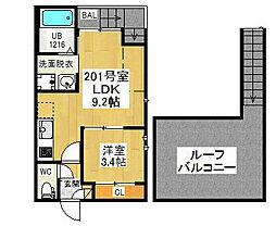愛知県名古屋市西区枇杷島2の賃貸アパートの間取り