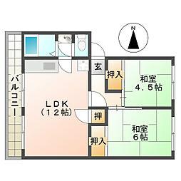 名谷農住団地 G棟[1階]の間取り