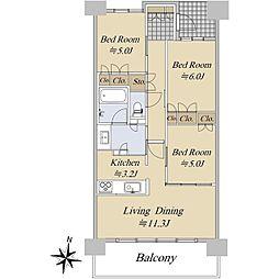 エクセレントシティ上杉二丁目 1階3LDKの間取り