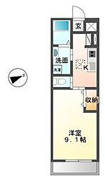 茨城県ひたちなか市高場2丁目の賃貸アパートの間取り