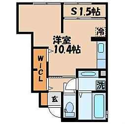 シャルール 1階ワンルームの間取り