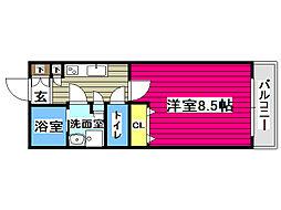 リビングステージ広瀬川 2階1Kの間取り
