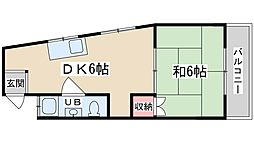 松本マンション 3階1DKの間取り