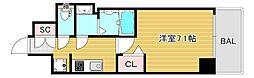 プレサンス大阪ドームシティクロスティ 14階1Kの間取り