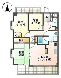 ライオンズマンション成願寺第2[4階]の間取り