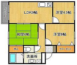 カサブロード藤井[B203号室]の間取り