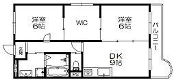 京阪本線 西三荘駅 徒歩15分の賃貸マンション 2階2SLDKの間取り