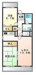 大阪府豊中市名神口3丁目の賃貸マンションの間取り