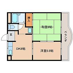 奈良県天理市杉本町の賃貸マンションの間取り