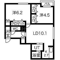 ブランシャール南郷13[4階]の間取り