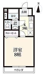 リバーサイド下田 A棟[202号室]の間取り