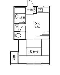 第二シルクハイツ角田[203号室]の間取り