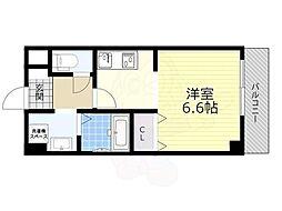 能勢電鉄妙見線 滝山駅 徒歩4分の賃貸マンション 5階1Kの間取り