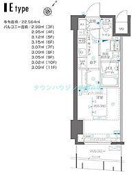 ZOOM横浜関内〜ズーム〜 9階1Kの間取り
