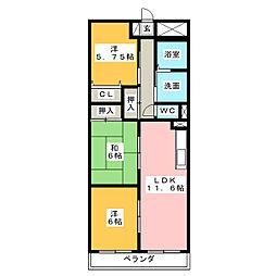 エバーグリーン 21[1階]の間取り
