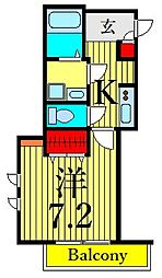 Iriya 町屋 de coco 2階1Kの間取り