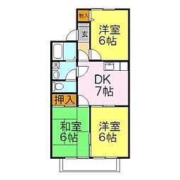 兵庫県姫路市飾磨区上野田2丁目の賃貸アパートの間取り