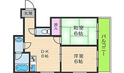 プレアール駒川II[5階]の間取り