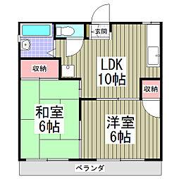 タウニー所沢II[106号室]の間取り
