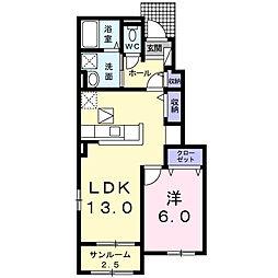 JR身延線 東花輪駅 徒歩13分の賃貸アパート 1階1LDKの間取り
