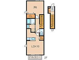 JR紀勢本線 海南駅 徒歩11分の賃貸アパート 2階1LDKの間取り