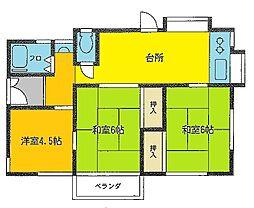 沼間アパート2階Fの間取り画像