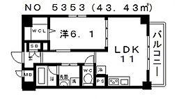 大阪府大阪市天王寺区大道2丁目の賃貸マンションの間取り