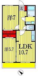 千葉県船橋市馬込西3丁目の賃貸マンションの間取り