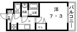 ララプレイス四天王寺前夕陽ヶ丘プルミエ 2階1Kの間取り