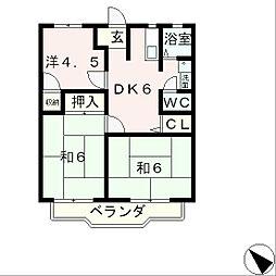 滋賀県大津市石山寺4丁目の賃貸アパートの間取り