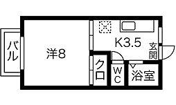 草川ハイツ[202号室]の間取り