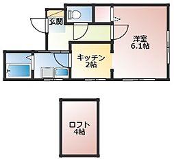 JR中央本線 神領駅 徒歩29分の賃貸アパート 2階1Kの間取り