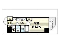 大阪府大阪市中央区南新町2丁目の賃貸マンションの間取り
